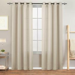 Semi White Sheer Curtains for Bedroom Casual Weave Linen Loo