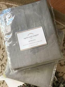 Pottery Barn Set 2 Belgian Linen Drape Gray 96L Curtain Pair