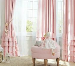 "Pottery Barn Kids Set/2 Pink Ruffle Bottom Blackout 96"" Li"