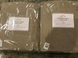 Pottery Barn Set of 2 Belgian Flax Linen Sheer Tie-Top Curta