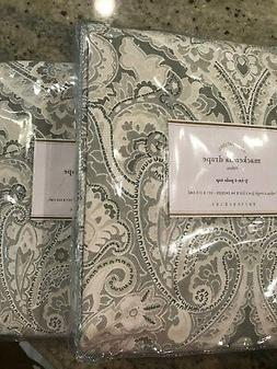 Pottery Barn Set of 2 Mackenna Paisley Linen Cotton Curtain