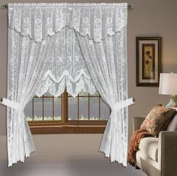 Shabby White & Linen Floral Lace Window Curtains Panels Rod