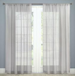 "Threshold Sheer Curtain Grey Linen Rod Pocket  54"" x 84"" Sun"