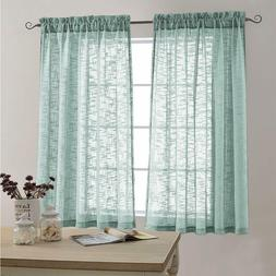 Sheer Curtains Open Weave Linen Texture Curtains L63xW52 inc