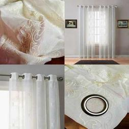 Sheer IVORY WHITE Faux Linen Short Size Curtain Panel W BEIG