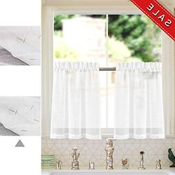 Sheer Linen Curtains Small Window Curtain Silvery Thread Che