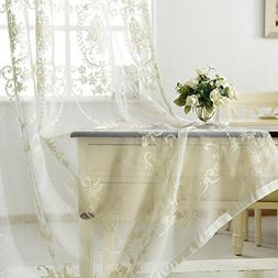 Solid Floral Sheer Curtain Window Drape White Embroidery Tul