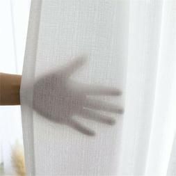 Solid White Tulle Sheer Window Thicken Linen Voile Curtain H