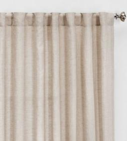 Threshold Tan Linen Light Filtering Curtain Panels One Panel