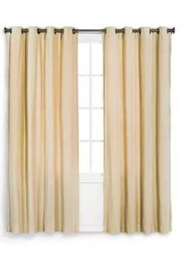 Threshold TAN Linen Velvet Grommet Curtain Window Panel 84""
