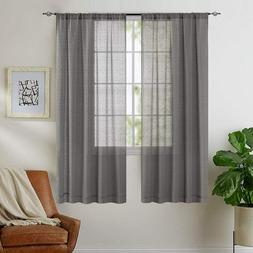 Taupe Sheer Curtains for Living Room Linen Textured Voile Dr