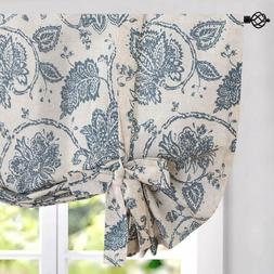 Tie Up Curtains Linen Textured Medallion Design Rustic Jacob