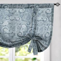 Tie Up Curtains Linen Textured PaisleyRustic Jacobean F lora