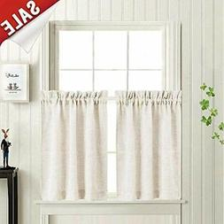 Tier Panels Curtains Linen Textured 36 Inches Long For Kitch