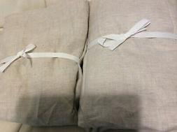 West Elm Two  Belgian Flax Linen Curtains 48x96 NWOT Natural