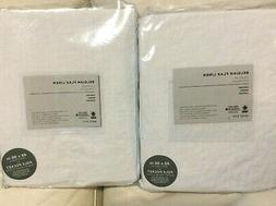 West Elm Two  Belgian Flax Linen Curtains 48x96L NIP! White