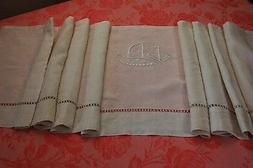 Valance from Antique French Embroidered Pure Linen Curtain P