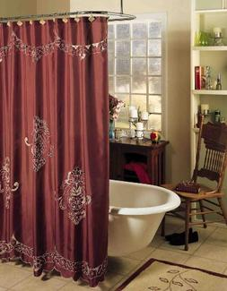 Valencia Cutwork Fabric Shower Curtain Burgundy Holiday Crea