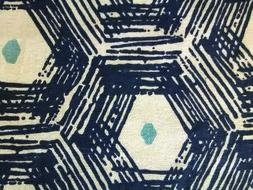 Vintage abstract fabric curtains drapery panels, linen cotto