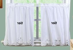 "White Battenburg Lace Kitchen Curtain 28"" L Tiers New by Cre"