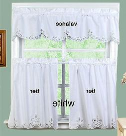 White Battenburg Lace Kitchen Curtain Valance or Tiers Creat