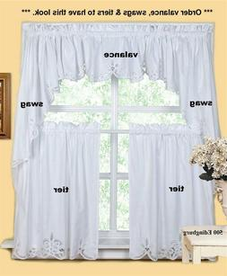 White Battenburg Lace Kitchen Curtain Valance Tier Swag Crea