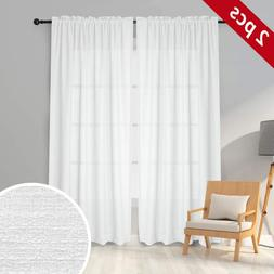 Melodieux White Semi Sheer Curtains 96 Inches Long For Livin