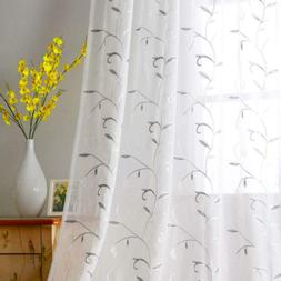 Visiontex White Sheer Curtains Grey Leaves Embroidery Faux L