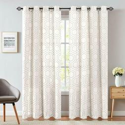 Window Curtains Linen Textured Honeycomb Embroidered Design