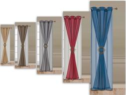 Window Grommet 3 Piece Faux Silk Linen With Sheer And Curtai